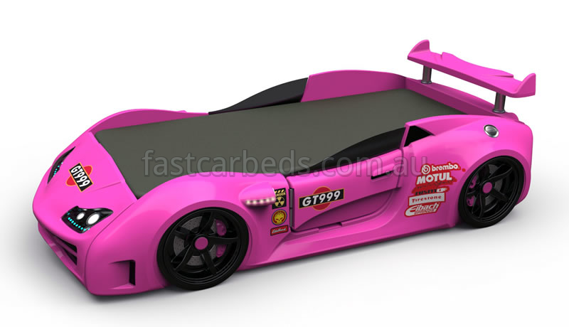 Girls Pink Race Car Bed Gt1